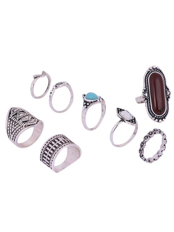 buy Engraved Faux Gem Turquoise Ring Set - SILVER ONE-SIZE