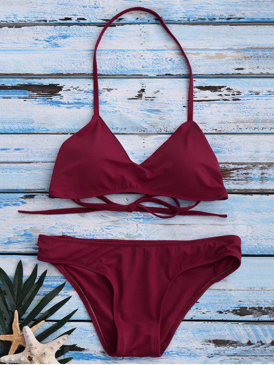 trendy Strappy Bikini Set - RED XL