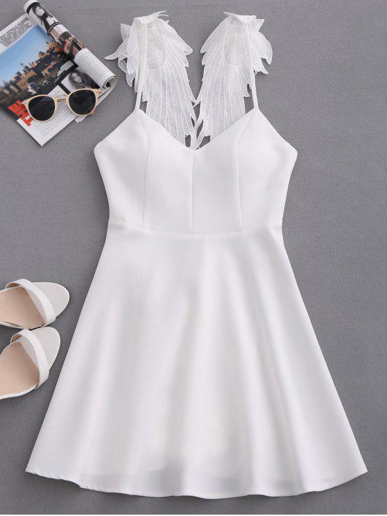 womens Wing Strap Skater Padded Dress - WHITE S