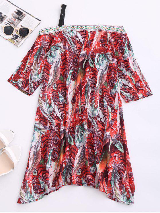 affordable Skew Neck Printed Chiffon Dress - RED M
