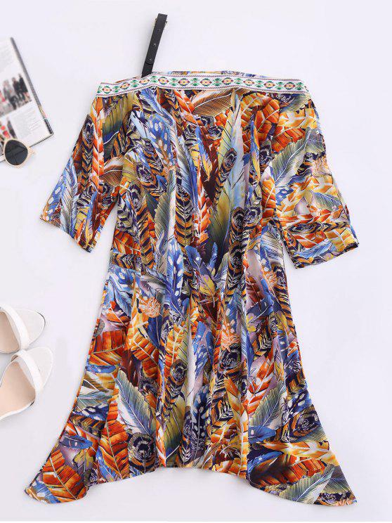 women Skew Neck Printed Chiffon Dress - BLUE S