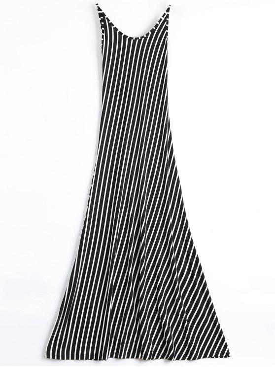 فستان عارية الذراعين مخطط ماكسي كامي - أسود S