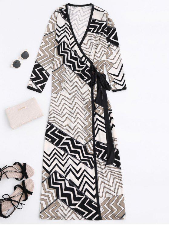 Hundiendo cuello del zigzag del abrigo vestido maxi - Colores Mezclados S