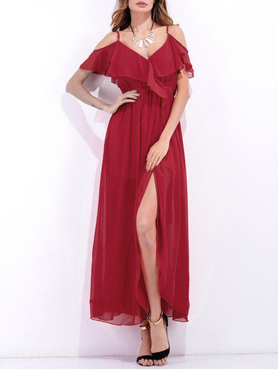 women High Slit Ruffle Slip Chiffon Dress - RED M