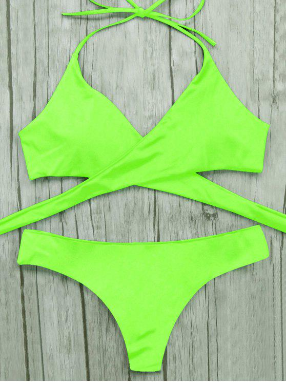 fashion Wrap Bikini Top and Baroque Bottoms - NEON GREEN M