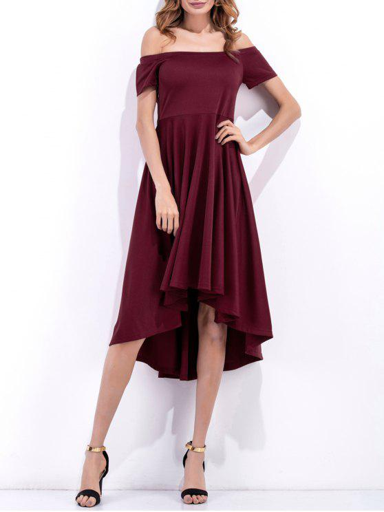 chic Off Shoulder High Low Flowing Dress - WINE RED M