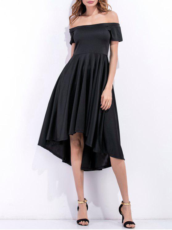 sale Off Shoulder High Low Flowing Dress - BLACK S