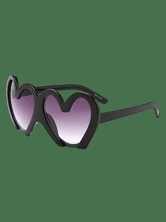 Lunettes de soleil de protection UV en forme de coeurs - Noir
