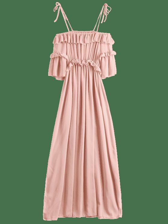 b8725c7d12 27% OFF  2019 Chiffon Ruffles Beach Dress In PINK