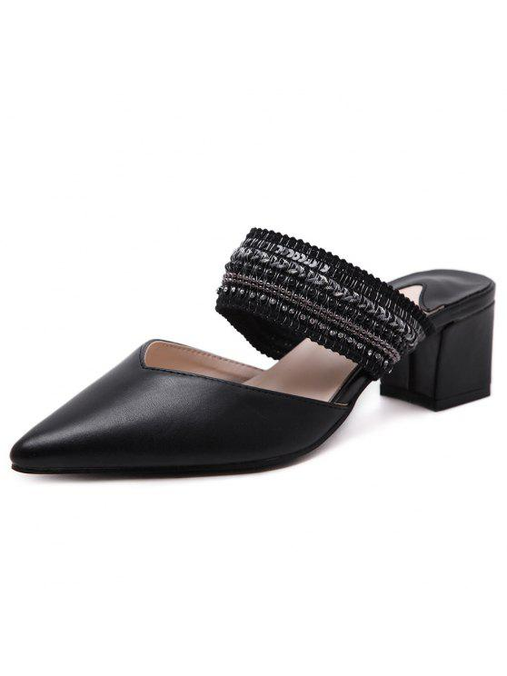 hot Faux Leather Beads Slippers - BLACK 39