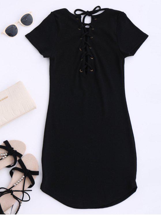 الدانتيل يصل البسيطة فستان قصير الأكمام البلوز - أسود حجم واحد