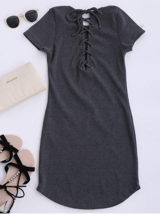 الدانتيل يصل البسيطة فستان قصير الأكمام البلوز - رمادي حجم واحد