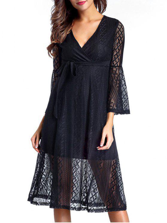 فستان ميدي دانتيل الرقبة V - أسود L