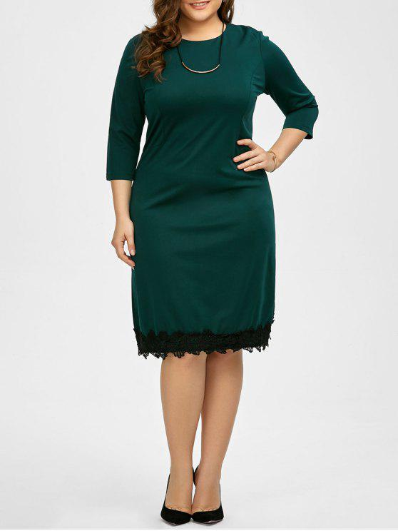 34% OFF] 2019 Plus Size Lace Trim Knee Length Work Dress In BLACKISH ...