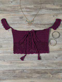 Knitted Off The Shoulder Bikini Bra - Burgundy