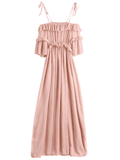 Chiffon Ruffles Beach Dress - Pink L