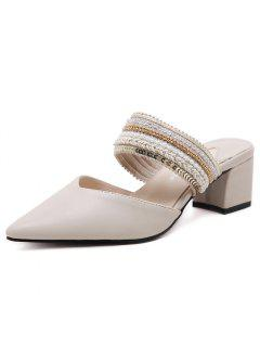Faux Leather Beads Slippers - Apricot 39