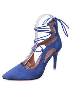 Mini Heel Pointed Toe Pumps - Blue 39