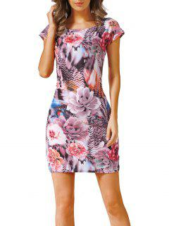Flower And Zig Zag Print Mini Dress - S