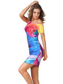 Impresión De Rose Del Collar De Inclinación Vestido Ajustado - S