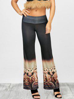 Printed Elastic Waist Wide Leg Pants - Black 2xl