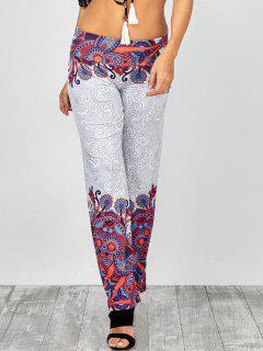 Taille élastique Paisley Imprimer Pantalon Palazzo - Blanc Xl