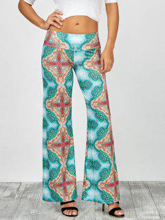 Cross Print Long Wide Leg Palazzo Pants - Green Xl
