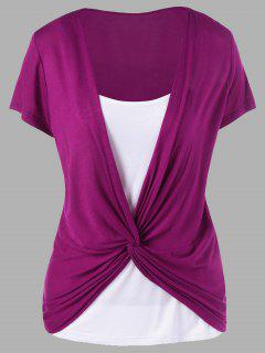 Colorblock-Panel Twist T-Shirt - Magenta Xl