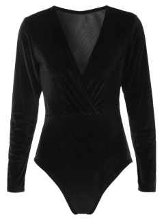Long Sleeve Velvet Bodysuit - Black S