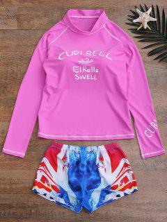Letter Top And Printed Shorts Wetsuit - Pink M