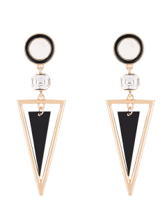 Rhinestone Triangle Circle Earrings - Golden