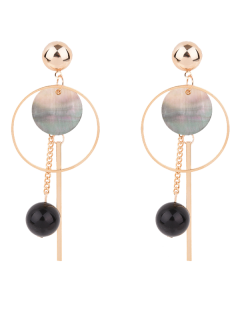 Bar Circle Ball Drop Earrings - Golden
