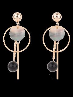 Boucles D'oreilles Circulaires Agrémentées De Boules Et De Barres - Or