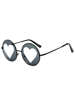 Mirrored Heart Round Sunglasses - Black