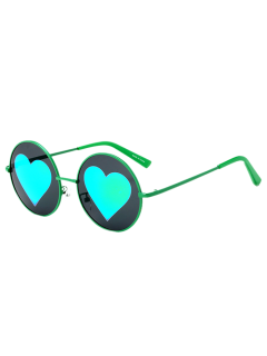 Mirrored Heart Round Sunglasses - Green