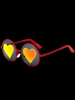 Mirrored Heart Round Sunglasses - Red