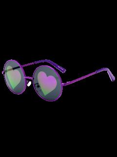 Mirrored Heart Round Sunglasses - Purple