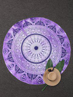 Round Geometric Beach Throw - Purple