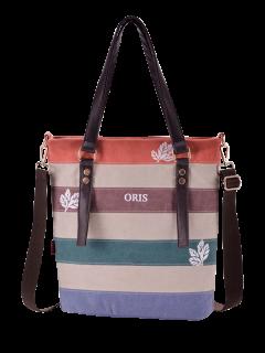 Color Block Canvas Shoulder Bag - Red