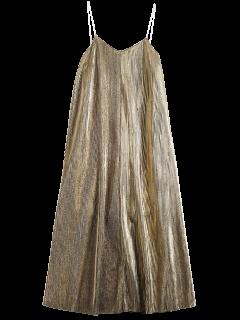 Robe Rétro Mi-longue à Paillettes - Or L
