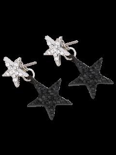 Pentagram Rhinestoned Earrings - Black