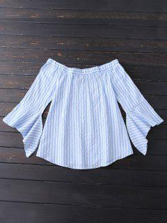 Bell Sleeve Off Shoulder Striped Blouse - Sky Blue M