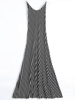 Backless Striped Maxi Cami Dress - Black M