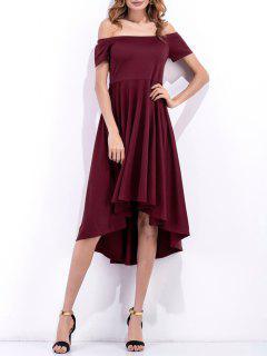 Hombro Vestido Alto-bajo Que Fluye - Vino Rojo Xl