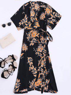 Floral Chiffon Wrap Beach Dress - Black Xl