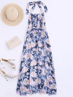 Shirred Halter Floral Maxi Beach Dress - Floral L
