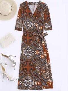 Print Wrap Beach Dress - Coffee M