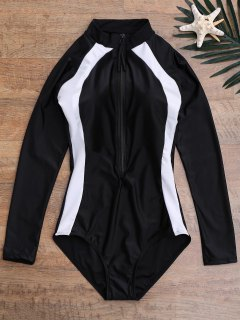 Color Block Zippered Swimsuit And Bra Wetsuit - Black Xl