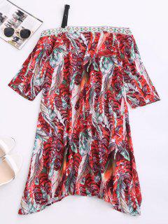 Skew Neck Printed Chiffon Dress - Red M