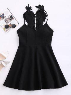 Wing Strap Skater Padded Dress - Black L